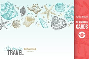 5 Sea Shells Cards