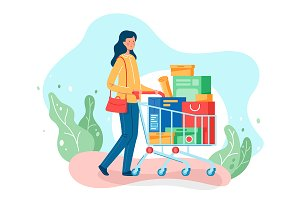 Woman shopping trolley goes home