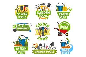 Gardening shop equipment, icons