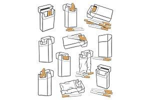 Cigarette packs, tobacco icons