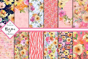 Peach Watercolor Floral Patterns