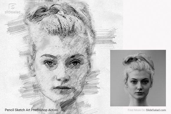 2e15d646c05 Pencil Sketch Art Photoshop Action ~ Photoshop Add-Ons ~ Creative Market