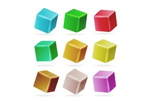 Colorful Cube 3d Set Vector