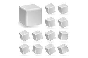 White Cube 3d Set Vector