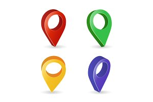 3d Map Pointer Vector. Colorful Set