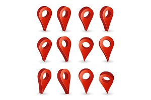 3d Map Pointer Vector. Set Red