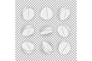 White 3D Medical Pills Or Drugs