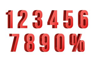 3D Red Discount Numbers Vector