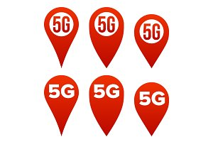 5G Pointer Sign Set Vector. Red Icon