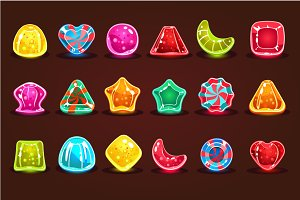 Bright cartoon candies for game
