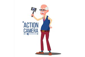 Old Man With Action Camera Vector