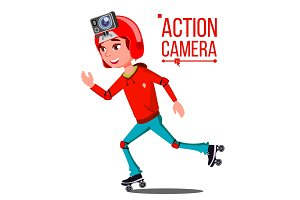 Child Girl With Action Camera Vector