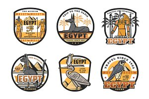 Egypt travel destination icons