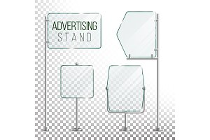 Glass Screen Banner Set Vector