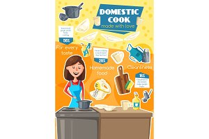 Domestic cook, cooking utensil