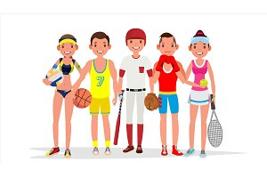 Summer Sports Vector. Set Of Players