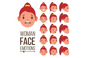 Woman Emotions Vector. Handsome Face
