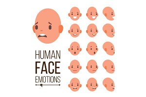 Human Emotions Vector. Face Smiling