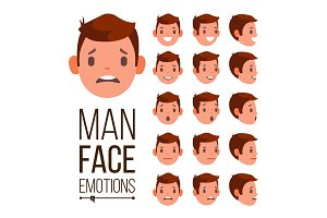 Man Emotions Vector. Different Male