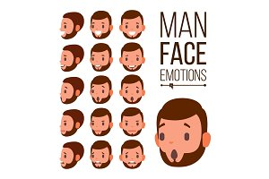 Man Emotions Vector. Young Male Face