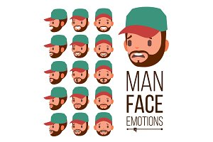 Man Emotions Vector. Face Male