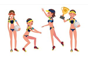 Beach Volleyball Player Vector. Girl