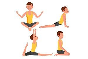 Yoga Man Poses Set Vector. Girl