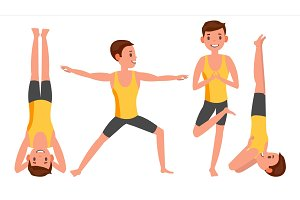 Yoga Man Poses Set Male Vector. Yoga