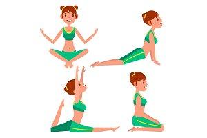 Yoga Woman Poses Set Vector. Girl