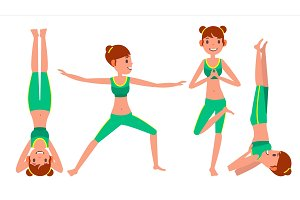 Yoga Woman Poses Set Female Vector