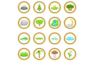 Landscape vector set, cartoon style