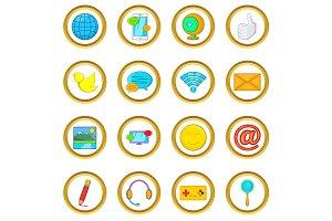 Social media vector set, cartoon