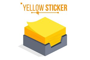 Yellow Sticker Vector. Office