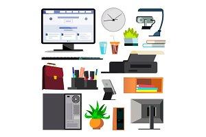Office Equipment Set Vector