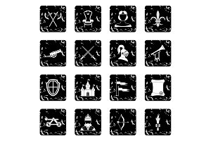 Medieval army icons set, grunge