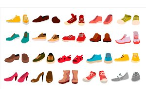 Footwear Set Vector. Stylish Shoes