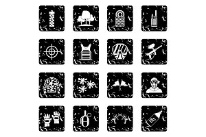 Paintball icons set, grunge style