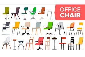 Chair Set Vector. Office Modern Desk