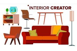 Furniture Creator Vector. Living