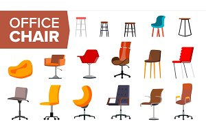 Chair Set Vector. Office Creative