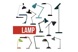 Lamp Set Vector. Table Desk Office