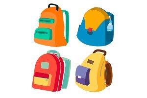 Schoolbag Set Vector. Closed