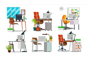Office Workplace Interior Set Vector