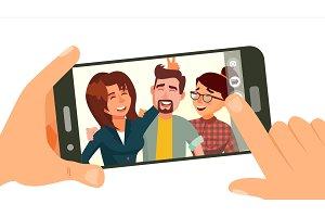 Taking Photo On Smartphone Vector