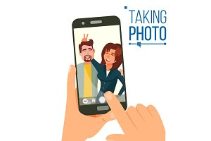 Taking Photo On Smartphone Vector