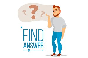 Thinking Man Vector. Question Sign