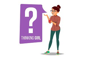 Thinking Woman Vector. Question Sign