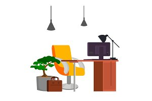 Office Workplace Vector. Office Desk