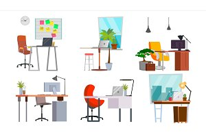 Office Workplace Set Vector