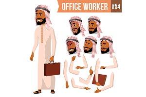 Arab Office Worker Vector. Saudi